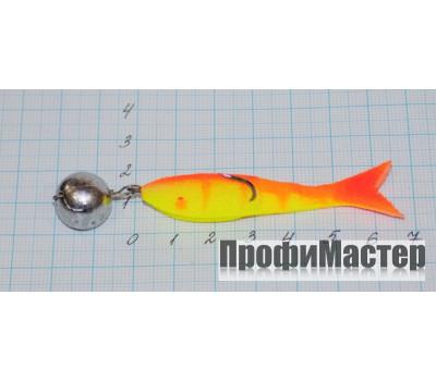 Поролоновая рыбка 60 мм оснащенная двойником №4 груз 14 гр, цвет 6