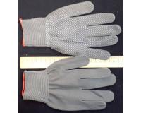Перчатки нейлоновые с ПВХ покрытием серые, микроточка