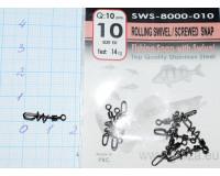 Застежка с вертлюгом Gurza №10 ROLLING SWIVEL, тест 14 кг, (10 шт.)