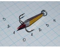 Блесна зимняя Ваучер  6,5 гр, олово с наклейкой золото с красным, кр. Mustad
