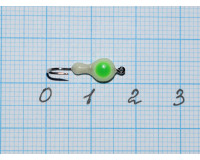 Мормышка  0,1 гр фосфорная, с зеленой точкой № 9