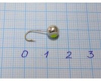 Мормышка 1,0 гр, d 5,0 мм Шар с люминофором, серебро