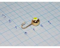 Мормышка 2,6 гр, d 8,0 мм Шар с люминофором, золото
