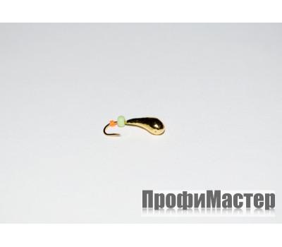Мормышка 0,45 гр, d 3,0 мм литая с бисером Уралка № 2, золото