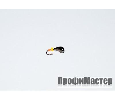 Мормышка 0,46 гр, d 3,2 мм с желтым и красным кембриком Уралка № 2,черный никель