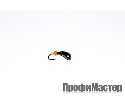 Мормышка 0,47 гр, d 3,0 мм с красным и зеленым кембриком Уралка № 2,черный никель