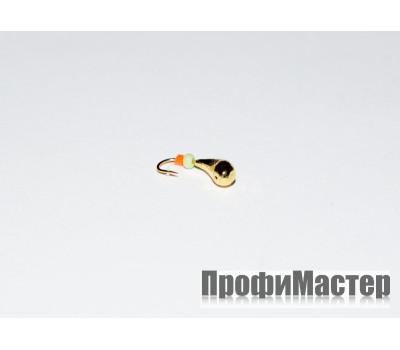 Мормышка 0,48 гр, d 3,0 мм литая с бисером Уралка № 2, золото