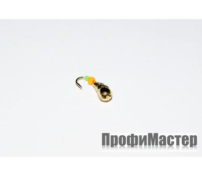 Мормышка 0,56 гр, d 3,5 мм литая с бисером Уралка № 2, золото